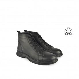 Kožne muške duboke cipele 632021CR crne