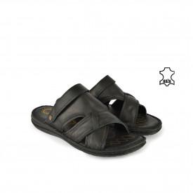 Kožne muške papuče 7655CR crne