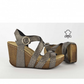 Kožne ženske sandale na platformu D-265SV sive