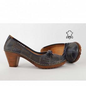 Kožne ženske cipele na štiklu K1868TT teget