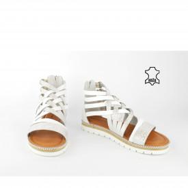 Kožne ženske sandale D-600SB srebrne