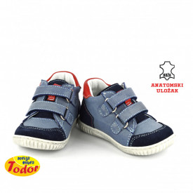 Kožne dečije cipele 528 sa anatomskim uloškom plave