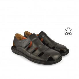 Kožne muške sandale 639005CR crne