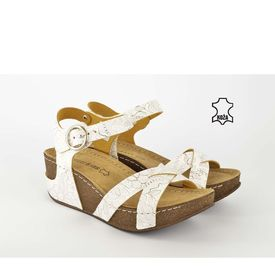 Kožne ženske sandale na platformu D-242 bele