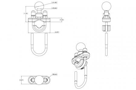 Kormányra, bukócsőre... szerelhető tartó adapter (12,7-tól 31,7 mm-ig) kép