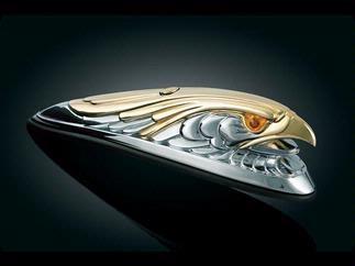 Világító szemű króm-arany színű sasfej első sárvédőre kép