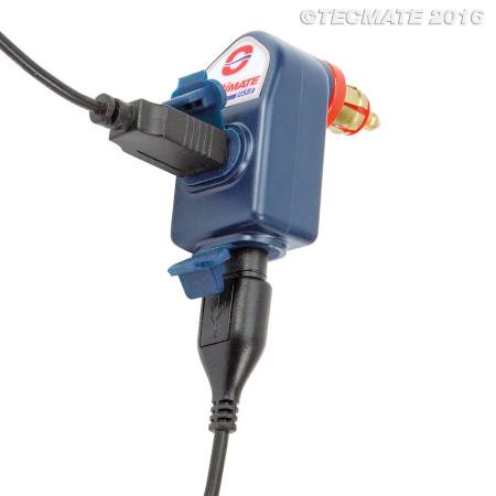 OptiMATE O-105 kettős USB töltő, derékszögű csatlakozó dugóval (DIN Ø12mm) kép
