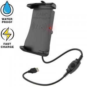 RAM® Quick-Grip™ Wireless telefontartó, vízálló vezeték nélküli töltővel