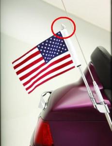 Krómozott vég zászlótartóra