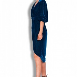 Rochie din catifea cu lungime asimetrica