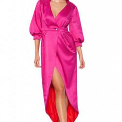 Fuchsia long wrap dress