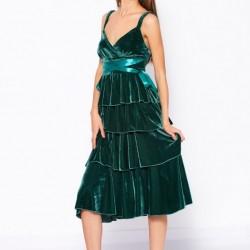 Rochie din catifea cu volane