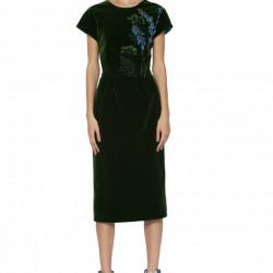 Rochie din catifea cu broderie