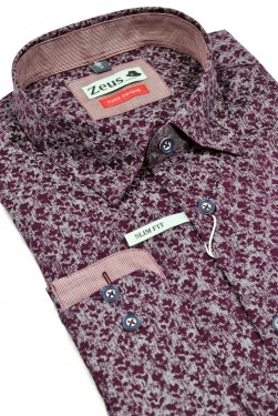 Poze Camasa barbati, Bordo, Slim Fit ,Zeus, Cod: Camasa B.0168 Bordo