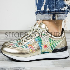 Poze Golden Stras Sneakers,Cod:KP5507-OR Gold
