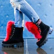 Bocanci dama Black army Red Fur,Cod:COR.565 Black Army