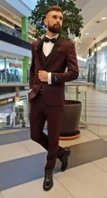Costum Barbati de Ceremonie,Slim Fit, 3 Piese, Bluemarin + Saten, Ucu Dima, Cod: 18001 Bordo