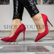 Pantofi Stiletto Red Suede,Cod:LT-75 Red