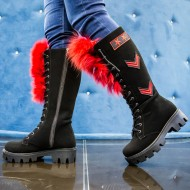 Bocanci dama Army Black with Red Fur,Cod:COR.015 BLACK