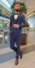 Costum Barbati de Ceremonie,Slim Fit, 3 Piese, Bluemarin + Saten, Ucu Dima, Cod: Costum B.18001 Bluemarin