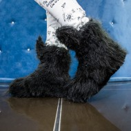 Ghete dama Black Artificial Fur,Cod:COR. 2233 BLACK