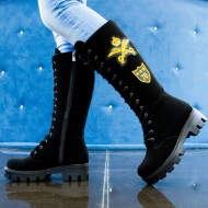Ghete dama black suede army yellow