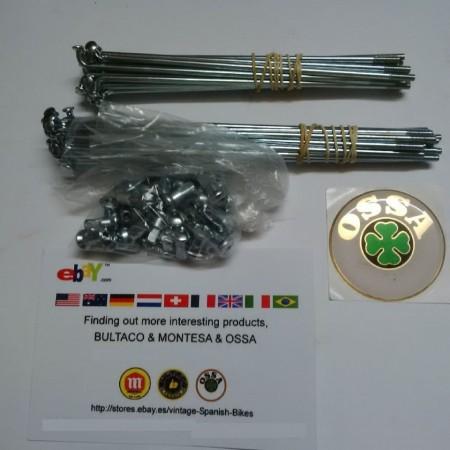 NEW OSSA EXPLORER SPOKES AND NIPPLES KIT ORIGINAL FRONT AND REAR WHEEL imágenes