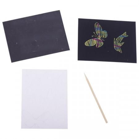 Set desen prin razuire - Plansa cu sablon - Set creativitate si indemanare