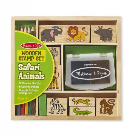 Set 9 stampile din lemn Safari - Melissa & Doug