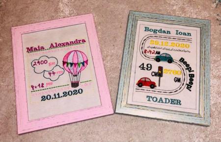 Tablou brodat cu anunț naștere - Mașinuțe