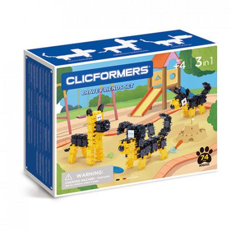 Set de construit Clicformers- Catei prietenosi, 74 piese