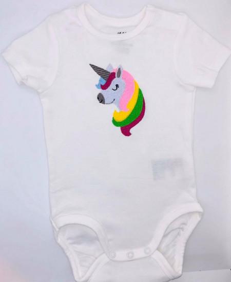 Body alb brodat unicorn 1