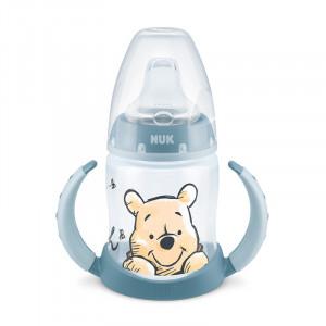 Biberon Nuk First Choice 150 ml Cu Toarte Si Adaptor Din Silicon Disney Bleu 6 luni+