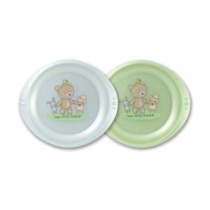 Farfurie plata LittleFrends Baby blue 2/set 6L+ Rotho-babydesign