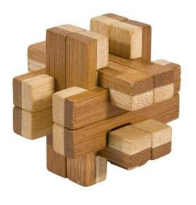Joc logic IQ din lemn bambus in cutie metalica-8