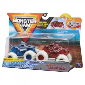 MONSTER JAM SET 2 MASINUTE MEGALODON SI OCTONBER COLOR CHANGE