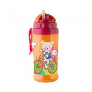 Pahar cu pai de silicon CoolFrends Raspberry 360ml.12L+ Rotho-babydesign
