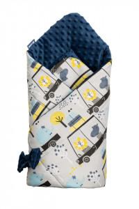 Paturica nou-nascut Sensillo Minky Wrap Zoo Navy Blue 80x80 cm