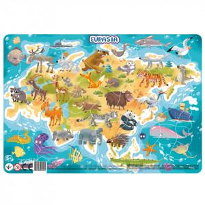 Puzzle cu rama - Europa si Asia (53 piese)