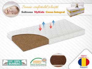 Saltea MyKids Fibra De Cocos Integral 140x70x8 Husa Bumbac Matlasat
