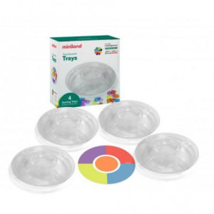 Set 4 tavite compartimentate translucide pentru sortare