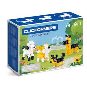 Set de construit Clicformers- Catei prietenosi, 123 piese
