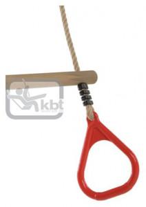 Trapez din lemn cu inele din plastic PP10, Rosu, 2,55 m