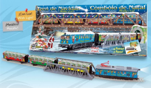 Trenulet electric Christmas cu lumina, pod si tunel
