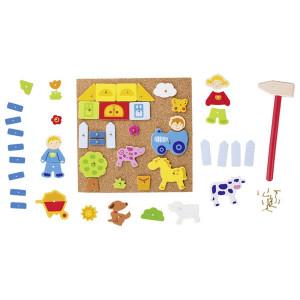 Viata la ferma - Joc de constructii cu ciocan si cuie pentru copii