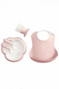 BabyBjorn - Set hranire: farfurie, lingurita, furculita, pahar si bavetica pentru bebe, Powder Pink