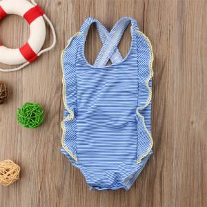 Costum de baie bleu cu dantela galbena