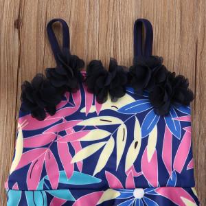 Costum de baie mov cu frunze si floricele aplicate