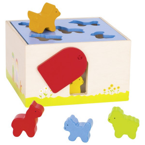 Cutie de lemn cu sortare forme animalute - Set educativ multicolor