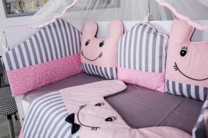 Lenjerie MyKids 10 piese Figures gri-roz fara baldachin 120x60 cm